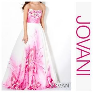 Brand New! Jovani Pink and White Gown/Dress Sz 6